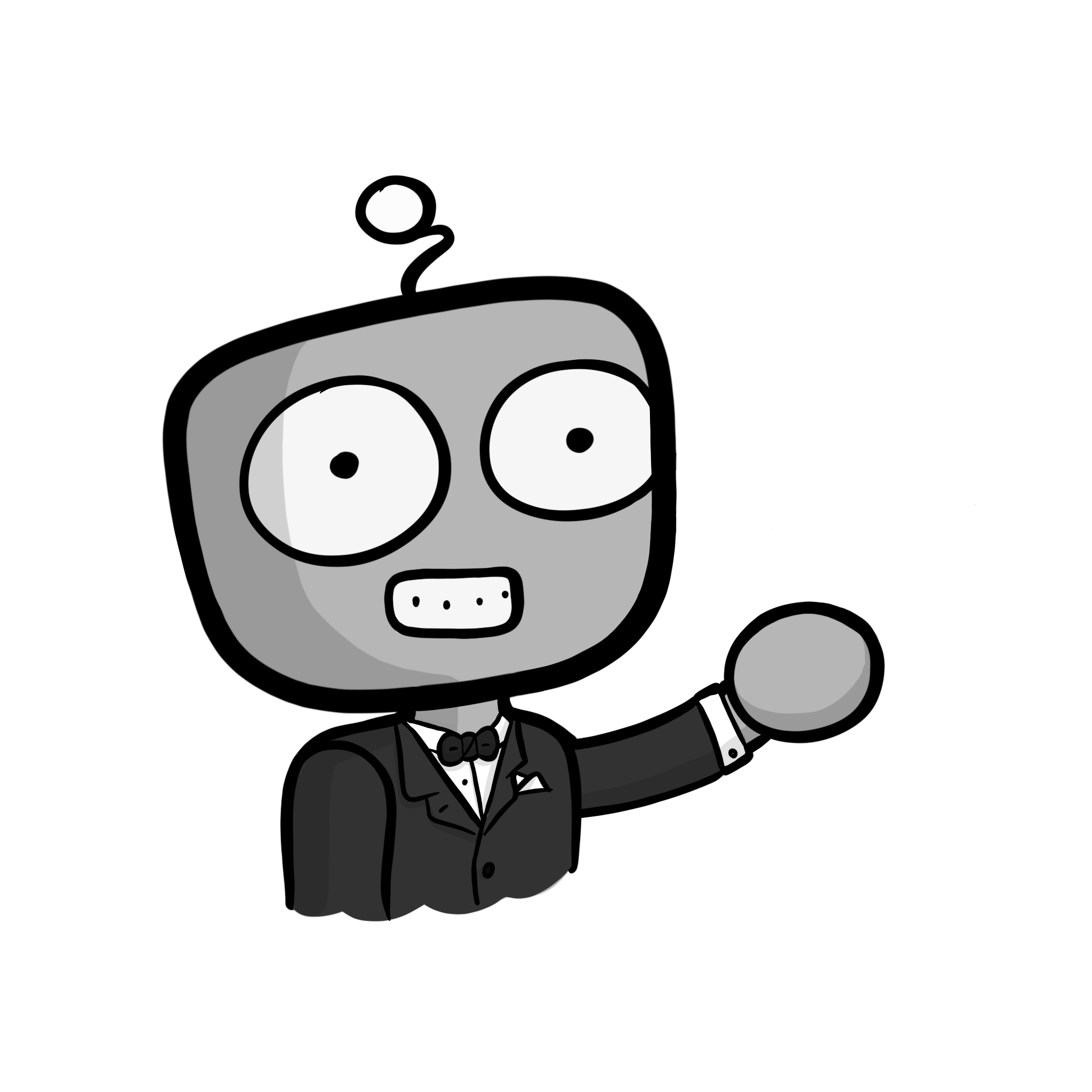 IT support robot with suit on