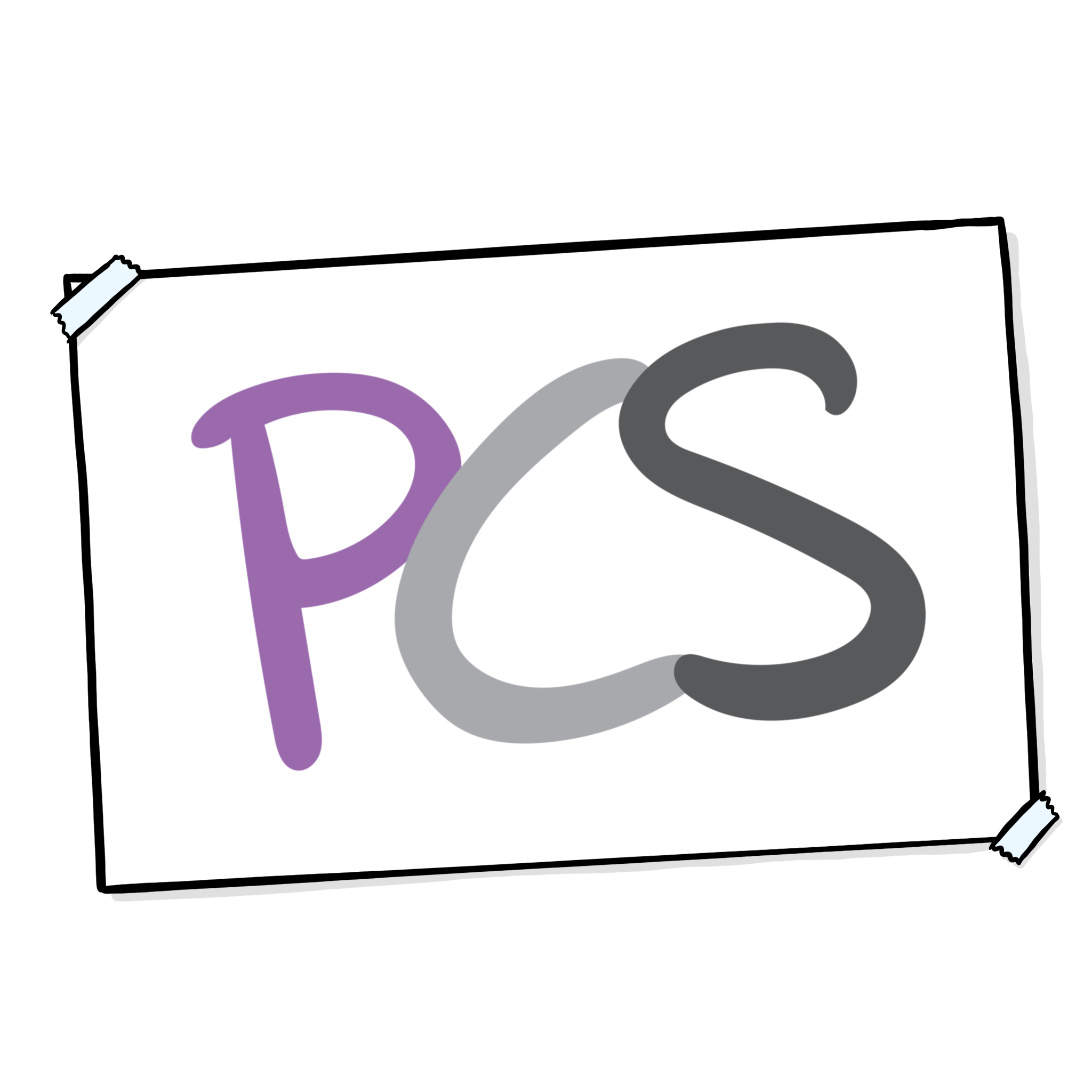 PCS logo on a piece of white card, taped at the edges