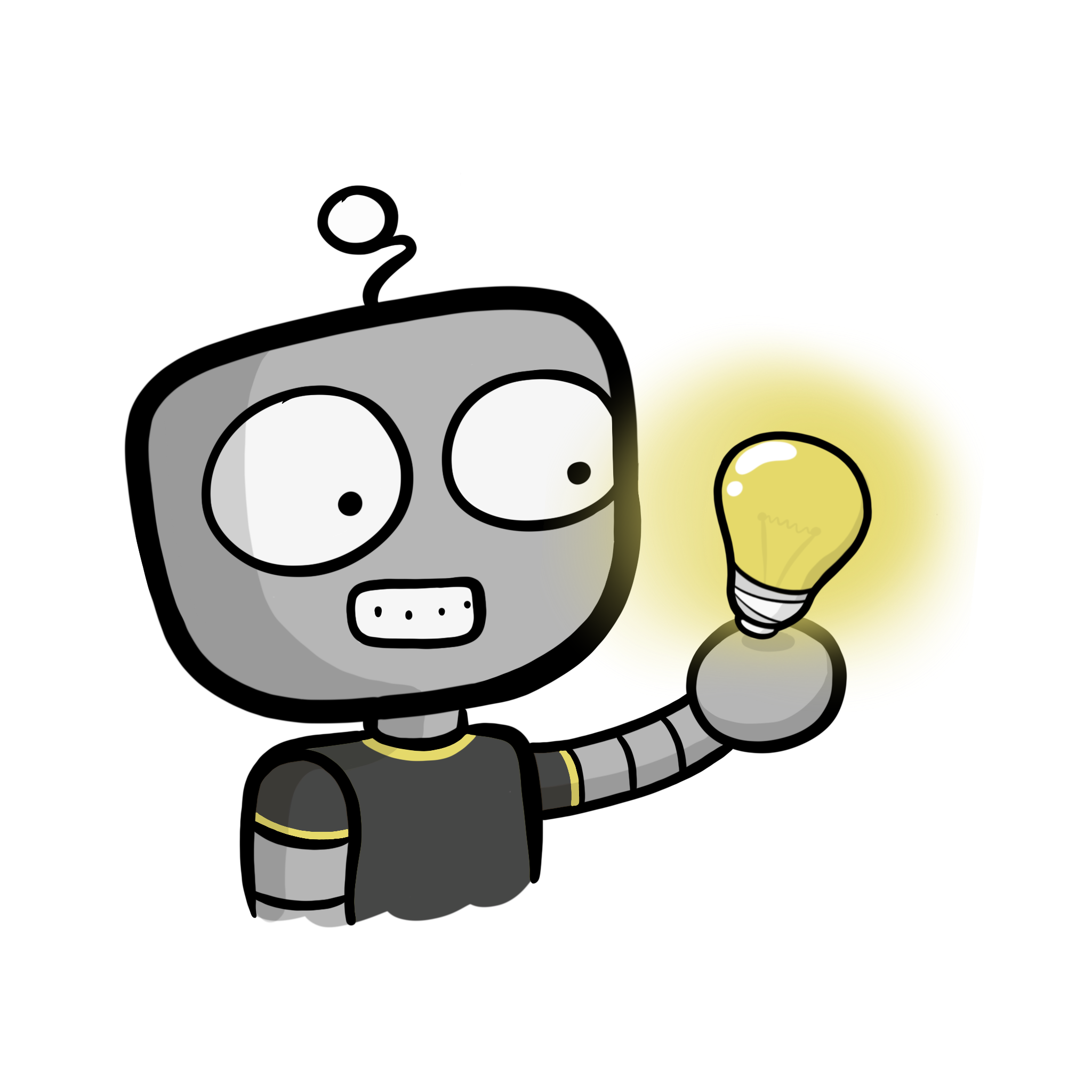 PCS Robot wearing a black t-shirt with a bulb in his hands