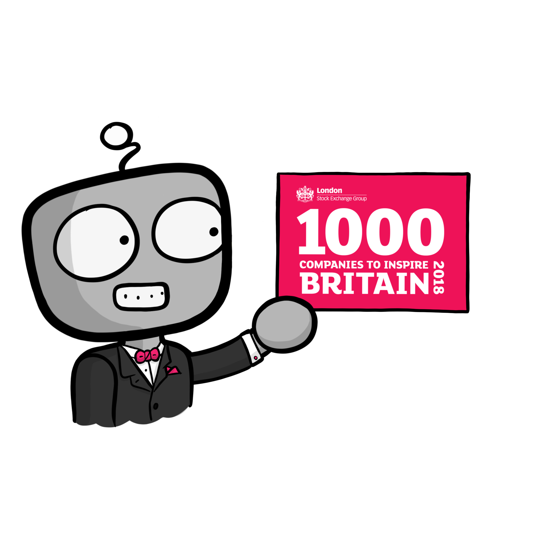 PCS robot wearing suit and bow tie holding a sign saying '1000 companies to inspire Britain 2018'