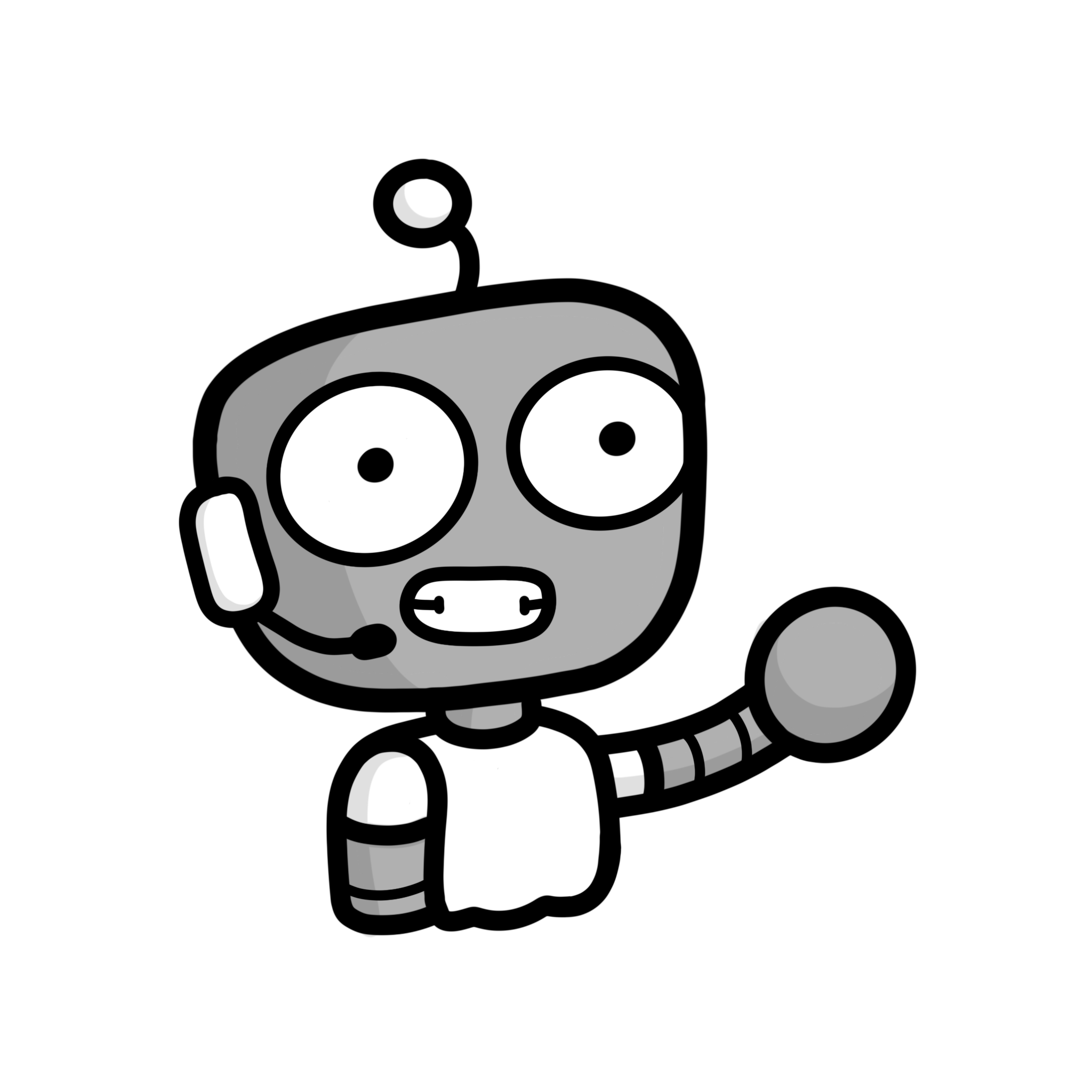 Robot with speech bubble representing talking